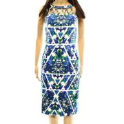 Adrianna Papell NEW White Blue Printed Women's Size 12 Sheath Dress $118
