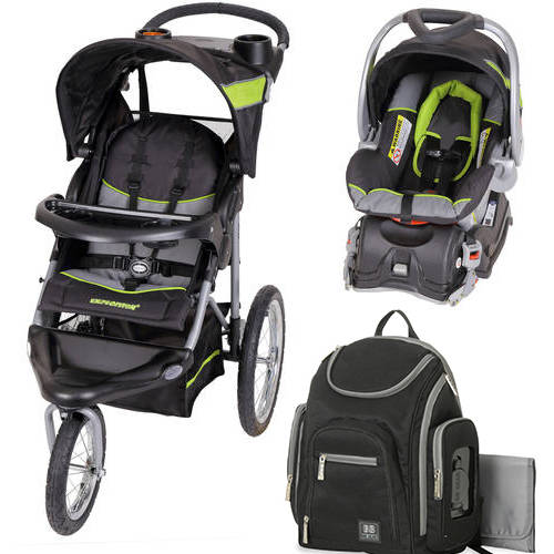 Baby trend millennium jogger travel system, green with Diaper Bag Value Bundle