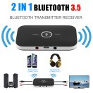 2 In 1 Wireless Stereo Audio Bluetooth Transmitter Receiver Adapter Black