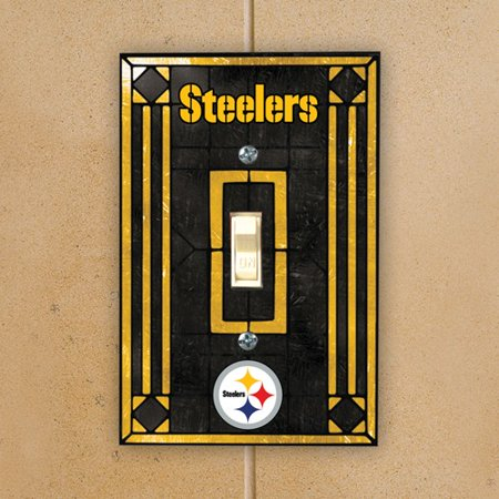 Pittsburgh Steelers Black Art-Glass Switch Plate Cover - No Size