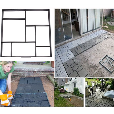 Ejoyous Paving Pavement Concrete Mould, Stone Mold, DIY 8 Grid Plastic Paving Pavement Concrete Mould Stepping Stone Walk Way Mold Decoration, Stone Mold Garden Lawn Path Paver Walk ()