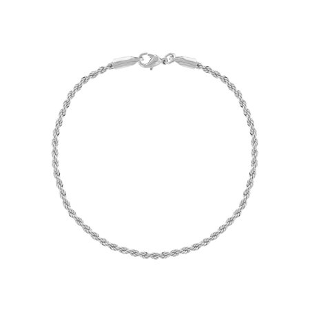 """Silver Plated Simple Classic Braided Rope Chain Womens Bracelet 7.5"""""""