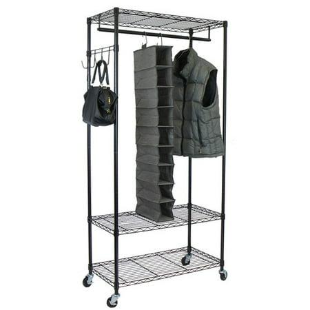 Garment Rack w/Adjustable Shelves & Hooks