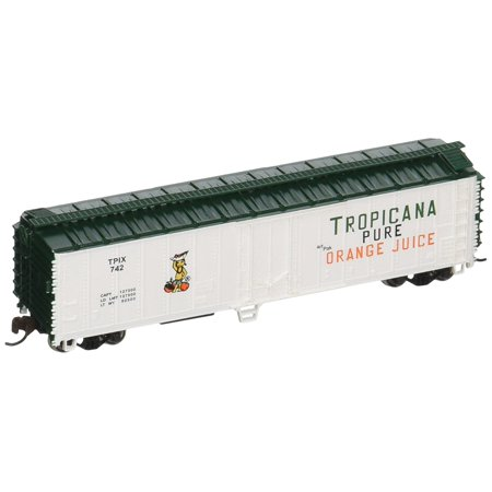 Bachmann Industries ACF 50' Steel Reefer Tropicana Car, White/Green, N Scale, Highly Detailed By Bachmann Trains Ship from US