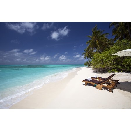 LAMINATED POSTER White Sand Beach Ocean Loungers Tropical Vacation Poster Print 24 x 36