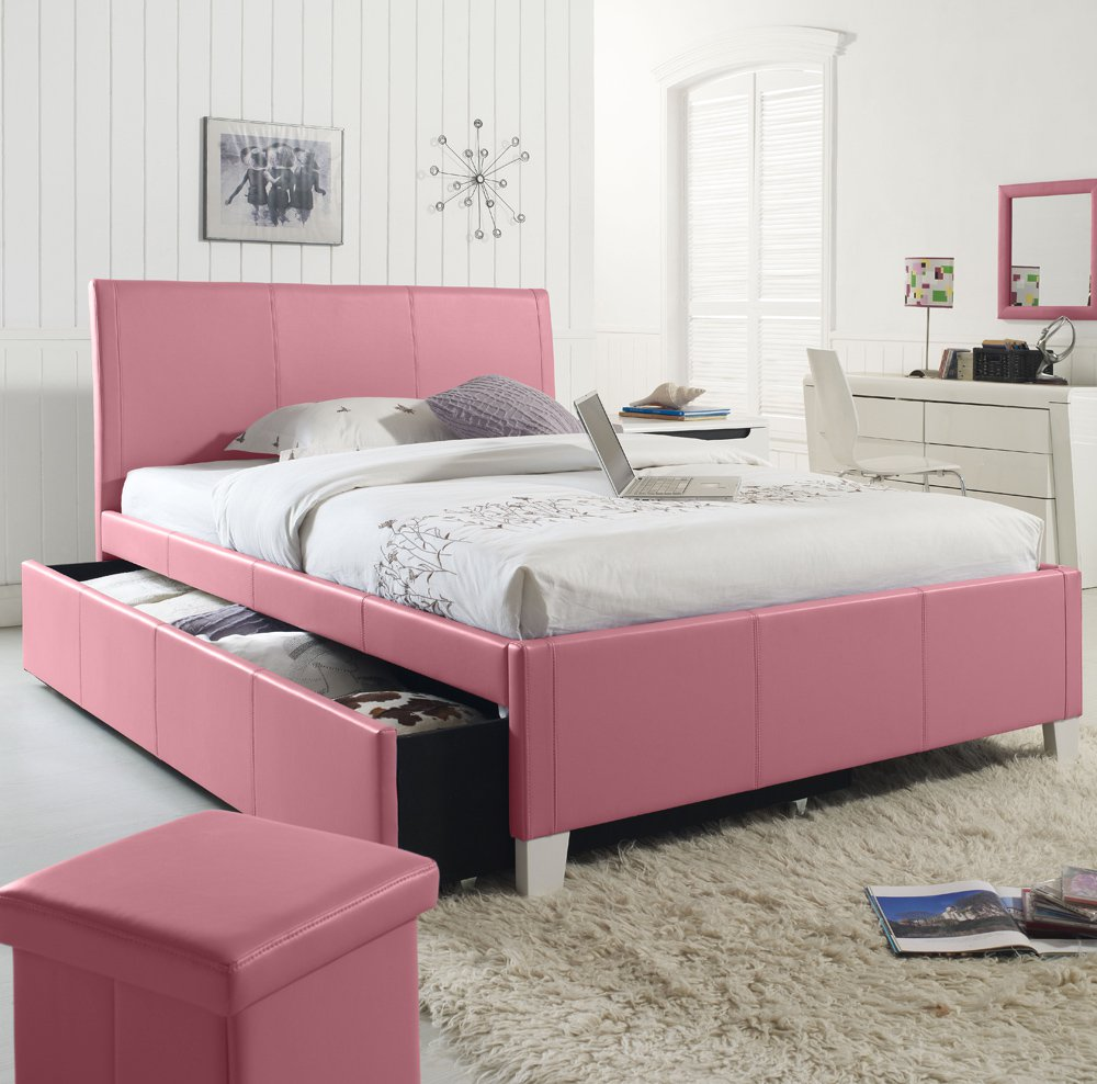 standard furniture fantasia upholstered trundle bed in pink full