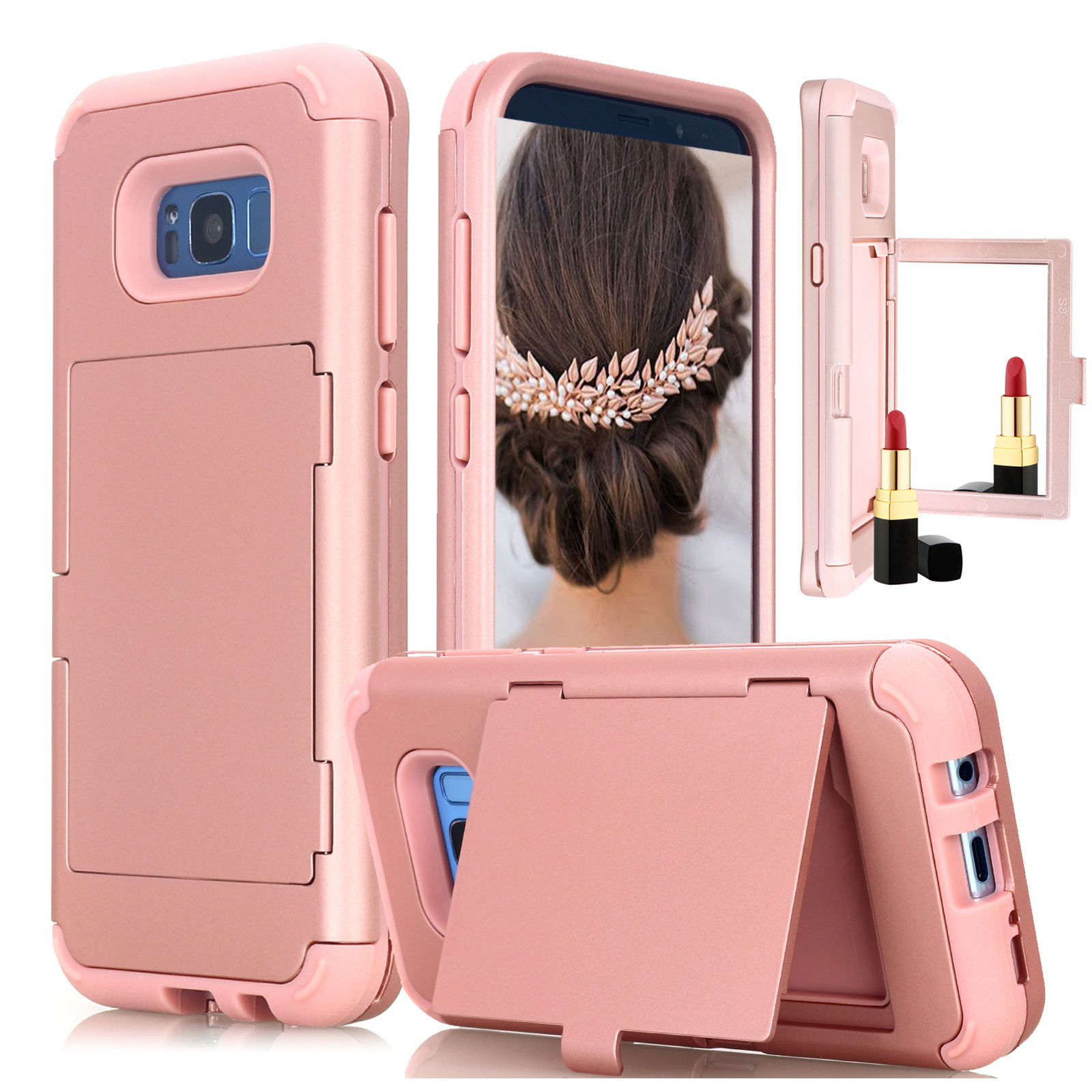 Galaxy S8 Plus Case, Three Layer Heavy Duty High Impact Resistant Hybrid Protective Cover Case with card Holder Slot and Mirror For Samsung Galaxy S8 Plus - Rose Gold