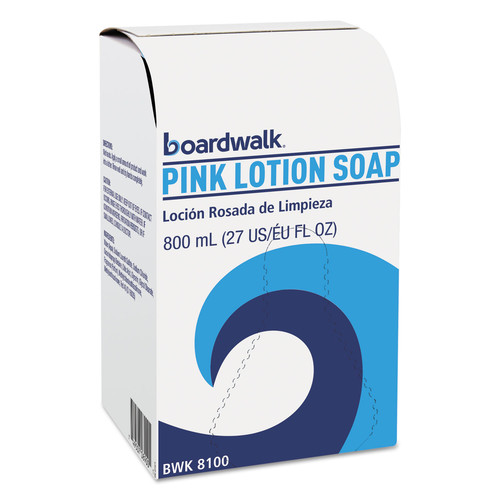 Boardwalk BWK8100CT Mild Cleansing Pink Lotion Soap, Floral-Lavender, Liquid, 800ml Box, 12/carton