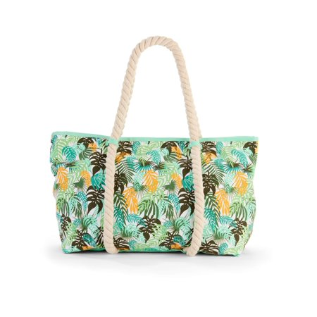 - No Boundaries Green Palm Rope Tote