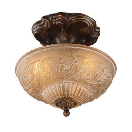 10.25 Inch Three Light - Semi Flush 3 Light With Golden Bronze Finish Antique Amber Glass Medium Base 10 inches 225 Watts - World of Lamp