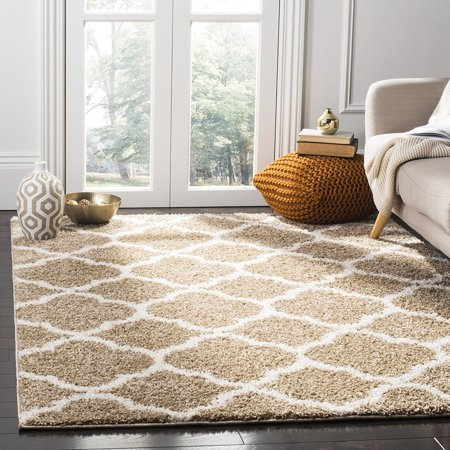 Safavieh New York Shag Collection Sg168a Dark Beige And Ivory Area