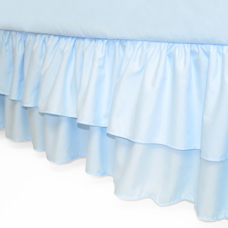 American Baby Company Double Layer Ruffled Crib Skirt, Blue, for Boys and Girls