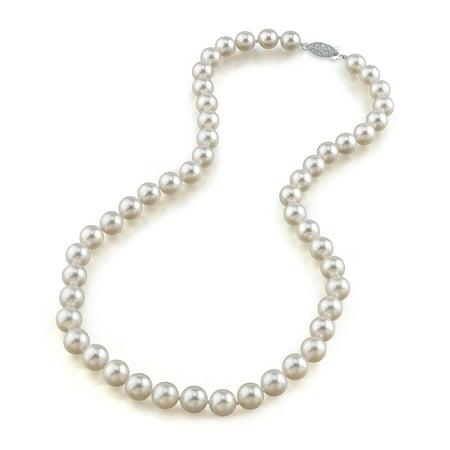 14K Gold 8.5-9.0mm Hanadama Japanese Akoya Saltwater White Cultured Pearl Necklace, 17