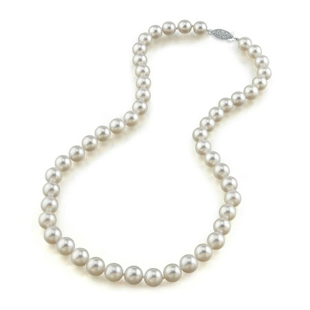 """14K Gold 8.5-9.0mm Japanese Akoya Saltwater White Cultured Pearl Necklace - AA+ Quality, 16"""" Choker Length"""