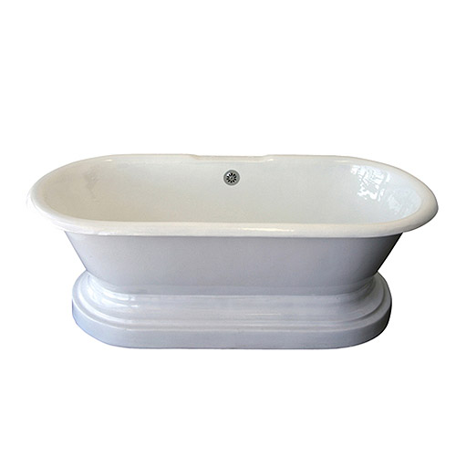 """Barclay Cast Iron Double Roll Top Tub 67"""" and Base Combination with No Faucet Holes"""