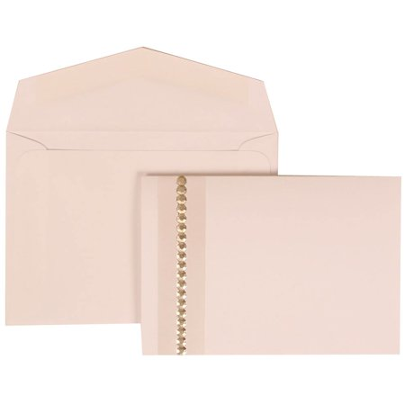 JAM Paper Wedding Invitation Set, Small, 3 3/8 x 4 3/4, White Card with White Envelope Jewel Accent, 100/pack