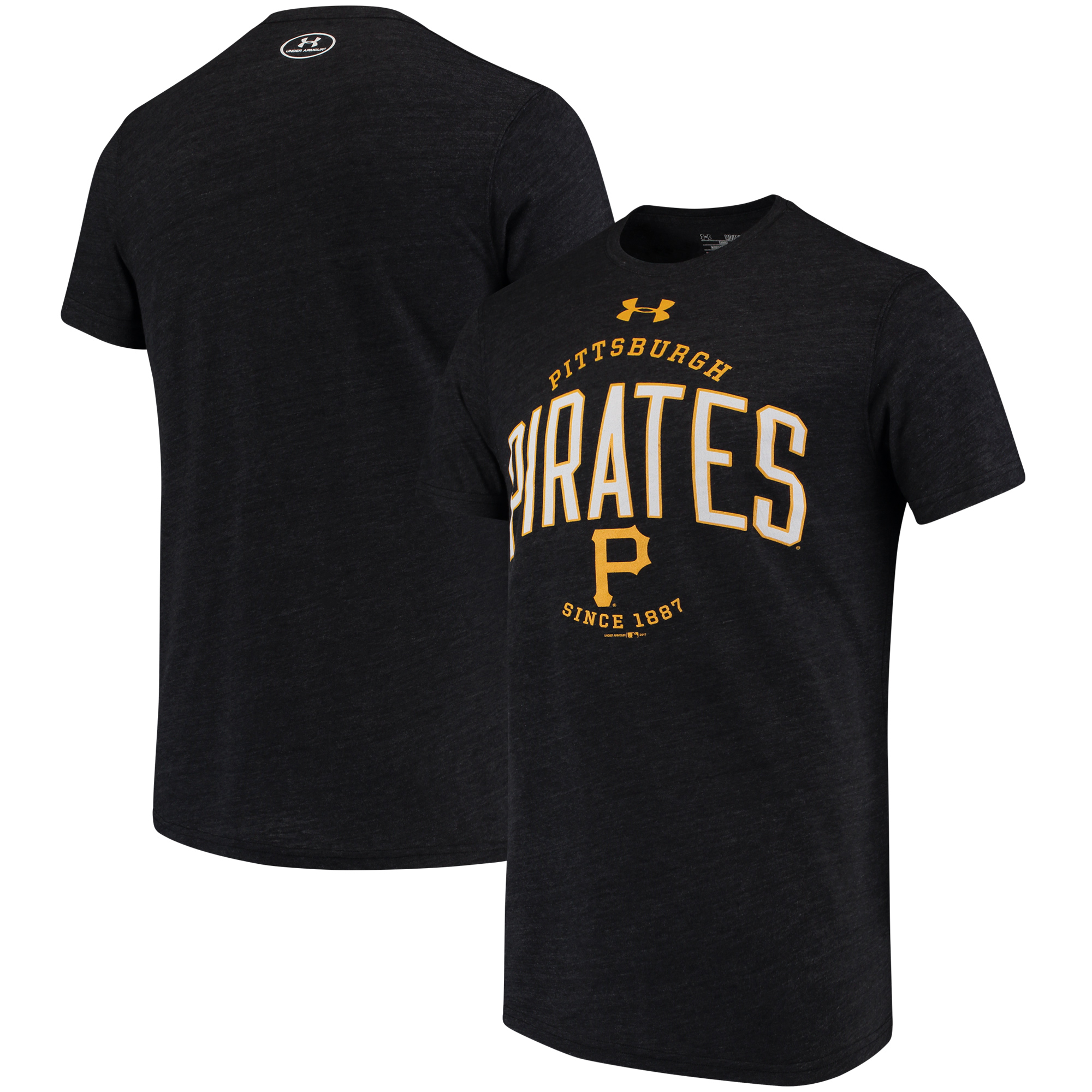 Pittsburgh Pirates Under Armour Team Logo Tri-Blend T-Shirt - Black