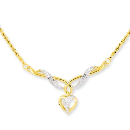 14kt 17 In Two Tone Yellow Gold Dangle Heart Link Rope Chain Necklace Inch Pendant Charm S/love Fashion Jewelry Ideal Gifts For Women Gift Set From (14k Yellow Gold Heart Dangle Necklace)