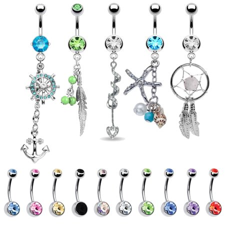 BodyJ4You 15 Belly Button Rings Dangle Barbells 14G Stainless Steel CZ Navel Body Jewelry