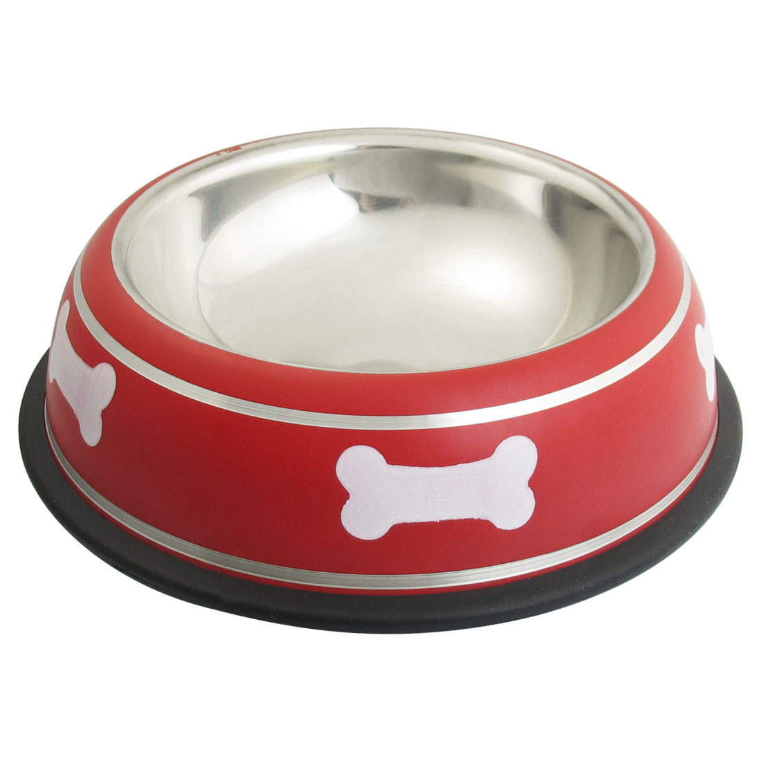 Unique Bargains Stainless Steel Bone Print Nonslip Base Cat Pet Dog Water Food Bowl Red