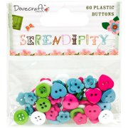 Dovecraft Serendipity Plastic Buttons 60/Pkg-Assorted Shapes