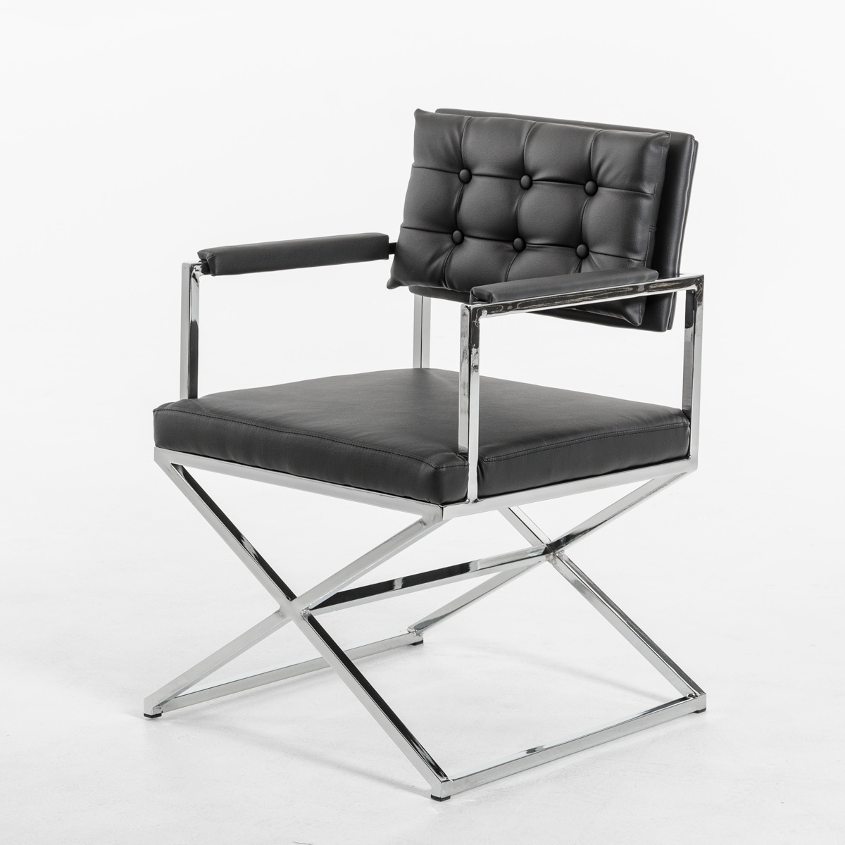 Modern Black Leatherette Dining Armchair by HomeRoots