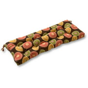 "Greendale Home Fashions 44"" Outdoor Swing/Bench Cushion, Flowers on Chocolate"