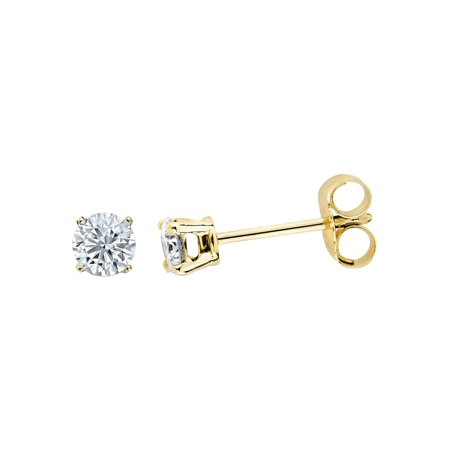 1/6 Carat (ctw I2-I3) Solitaire Stud Diamond Earrings in  Yellow Gold Plated Sterling -