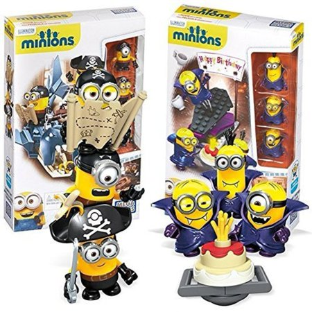 Minions Scene Playset Mega Bloks | Pirates Shark Bait + Vampire Surprise | Despicable Me Building Block Toy Figures DM Movie Merchandise 2-Pack Gift Set - Pirate Merchandise