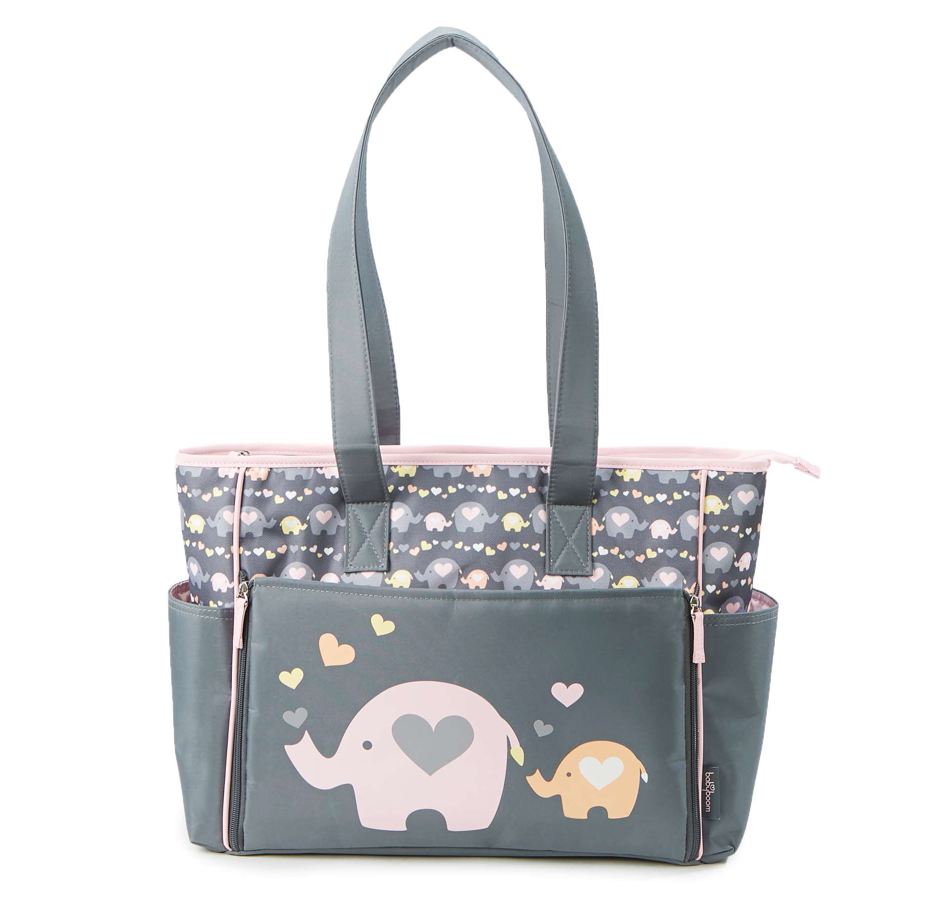 Baby Boom Elephnat Print Drop Front Tote Diaper Bag by Baby Boom