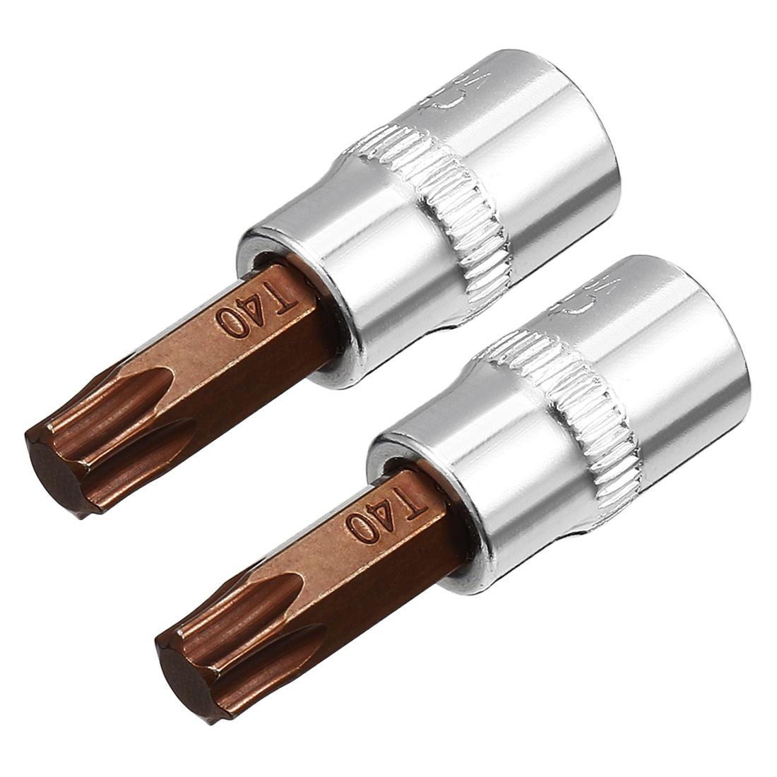 Tasharina 2 Pcs 1/4-Inch Drive T40 Torx Bit Socket, S2 Steel