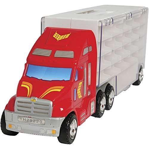 44 Cars Storage Case Rig Carrier Fits 1 64 Die Cast Model Cars of all Brands in Functional Hauler Truck Toy by