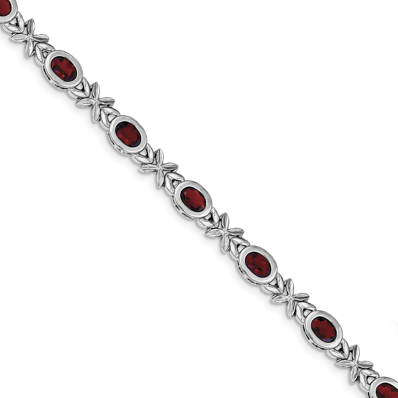 Sterling Silver Garnet Fancy Link Bracelet by
