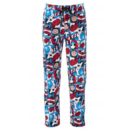 Marvel Captain America Men's Lounge Sleep Pajama Bottom Pant PJ (Medium)