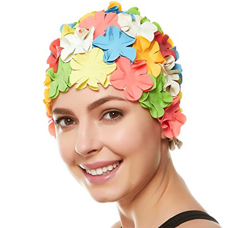 d8b1564aaa2 Beemo Floral Petal Swim Cap for Women – Retro Style Vintage Bathing Cap  Swimming Hat for Long and Short Hair - Multi color - Walmart.com