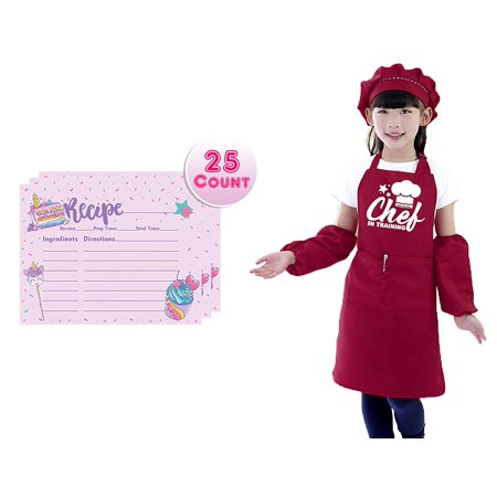 Childrens Apron Set for Boys and Girls with Unicorn Rainbow Recipe Cards Set, Adjustable Kitchen Aprons with Matching Chef Hat and Sleeves for Kids, Chef in Training Costume Pretend Play (Wine Red) Girl Costume Dress Hat Apron