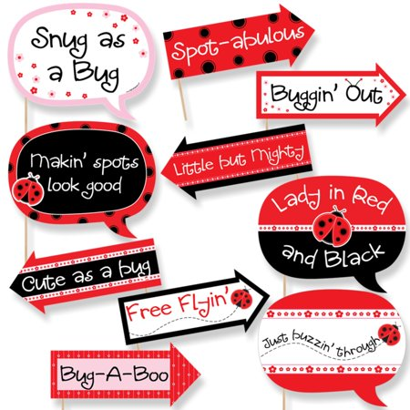 Funny Modern Ladybug - Baby Shower or Birthday Party Photo Booth Props Kit - 10 Piece - Party City Ladybug