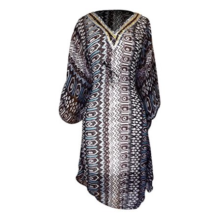 Peach Couture Light Weight Geometric Tribal Print Long Sleeve Fabric Belt Summer Tunic Mini dress Tribal Brown X-Large