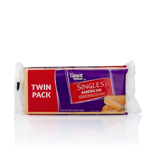 Great Value American Cheese Singles, Twin Pack, 24 oz