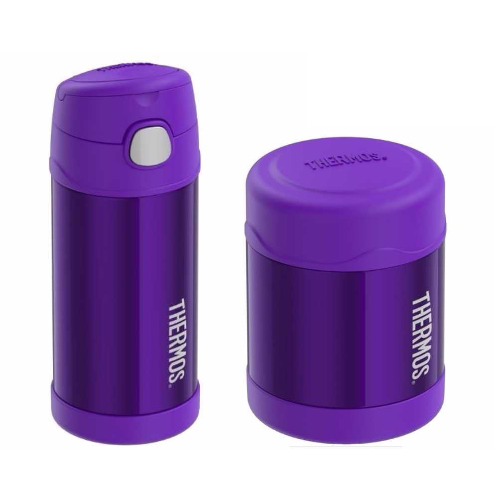 Thermos FUNtainer 12-Ounce Vacuum Insulated Drink Bottle + 10-Ounce Vacuum Insulated Food Jar (Violet)