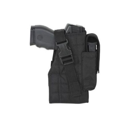 Voodoo Tactical Tactical Molle Holster W/ Attached Mag Pouch, Right Handed, Blac