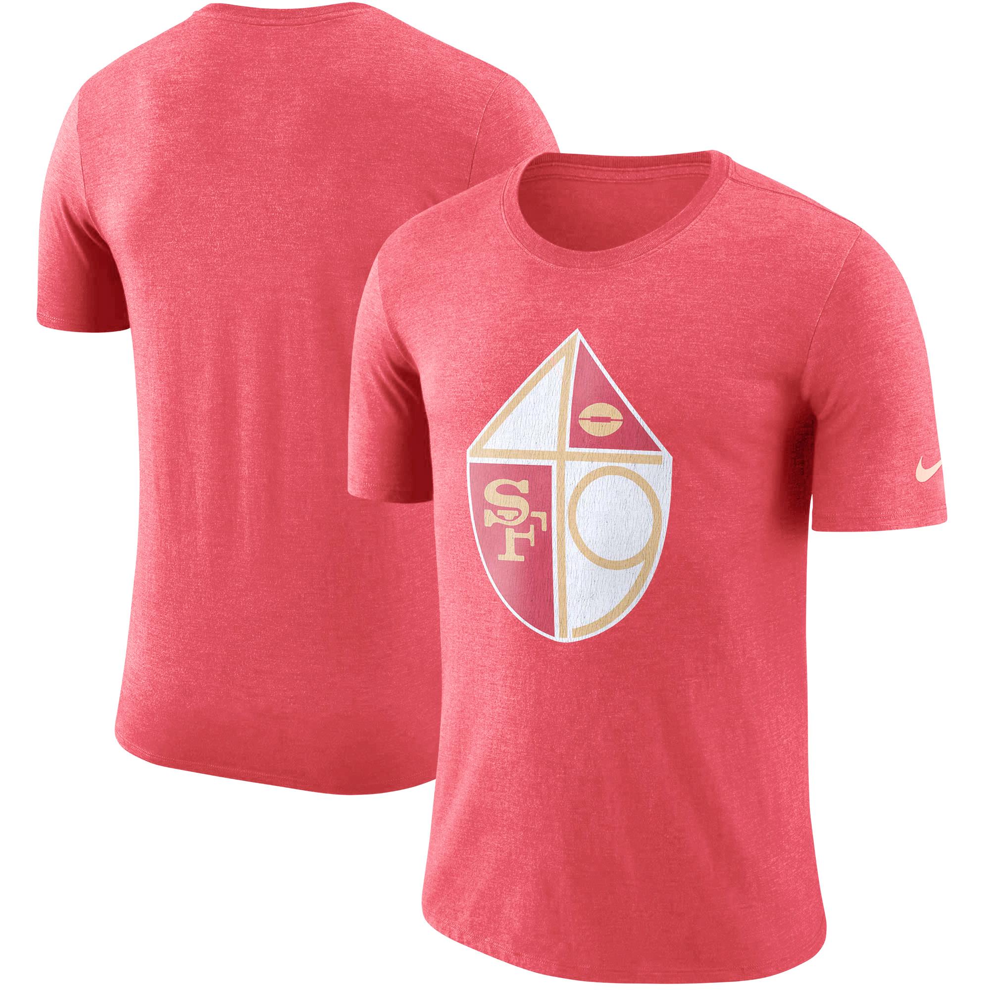 San Francisco 49ers Nike Historic Tri-Blend Crackle T-Shirt - Heathered Scarlet