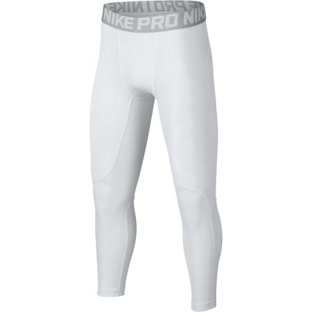 Nike Boys' Pro 3/4 Length Compression Tights, White/Wolf Grey, X-Large
