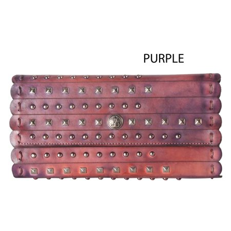 Distressed Leather Snap (Diophy  Mixed-color Genuine Leather Snap-closure Distressed Studded Wallet)