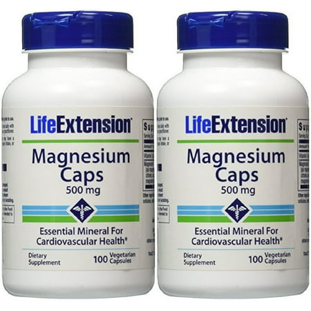 Life Extension Magnesium Caps 500 mg 100 Vegetarian Capsules (Pack of