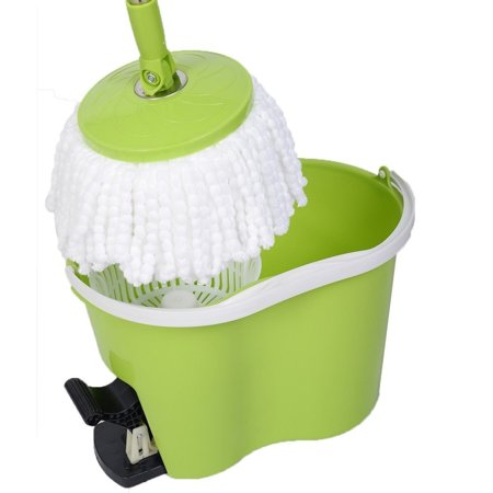 360  Rotating Floor Mop Easy Magic Spin Mop Microfiber Spining W Bucket 2 Heads