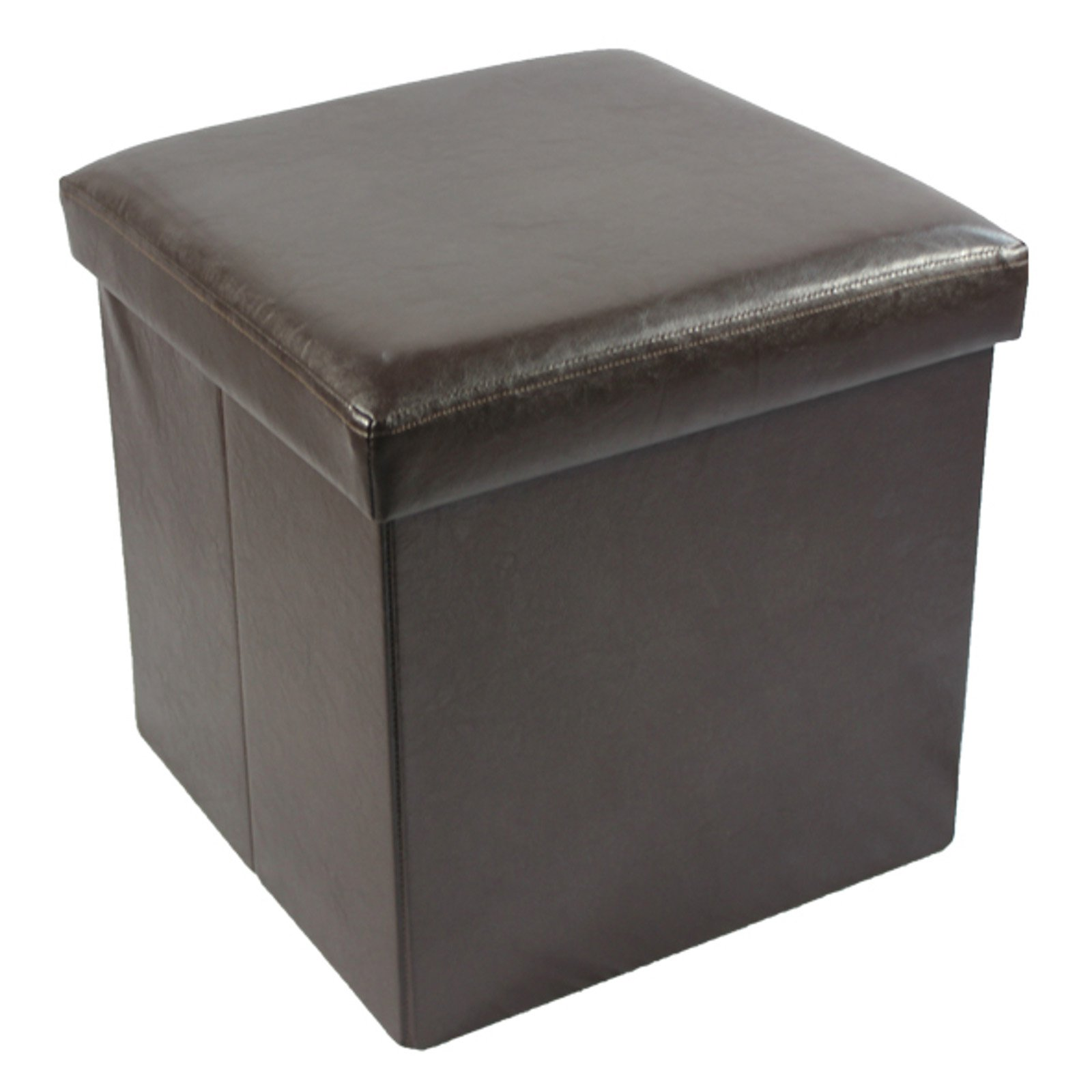 Collapsible Storage Ottoman, Faux Leather, 15x15 by Achim Importing Co. Inc