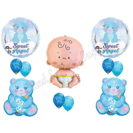 It's A Boy Sweet Angel Teddy Bear Baby Shower Balloons Decorations Supplies - Bear Balloon