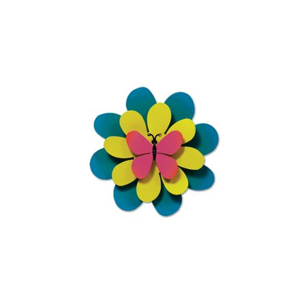 Studio M Kaleidoscope Collection Kinetic Sculpture Yard Art, 8-inches, Pink Butterfly on Green (Enamel Butterfly Flower)