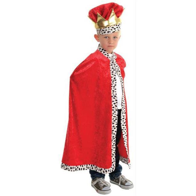 CHILD KING CAPE WITH FAUX LEOPARD FUR TRIM COSTUME UR26164